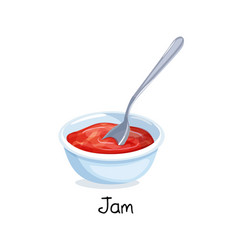 Bowl red berry jam vector