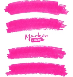 Bright pink marker stains set vector