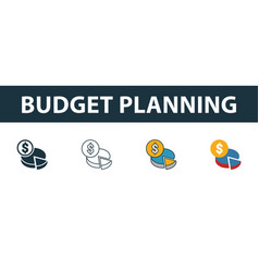 Budget planning icon set four simple symbols in vector