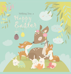 Cartoon deer family with cute bunnies happy vector