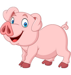 cartoon happy pig cartoon isolated on white backgr vector image