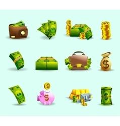 Cash payment flat icons set vector
