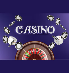 casino background roulette wheel with dice and vector image