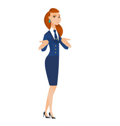 caucasian confused stewardess shrugging shoulders vector image