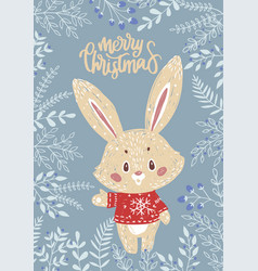 Christmas card with bunny vector