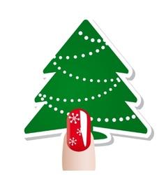 Christmas nail card vector image