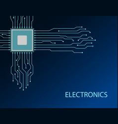 circuit board cpu blue electronics background vector image