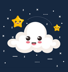 cloud and star icon sleep night dreams symbol vector image