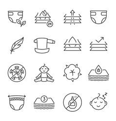 Collection baby diaper icon vector