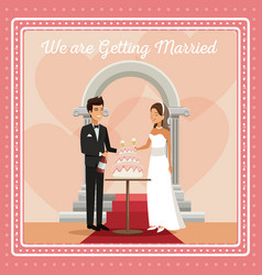 Colorful gretting card with couple scene of cake vector