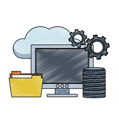 computer with folder in cloud scribble vector image