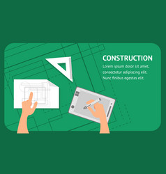 construction website flat banner template vector image