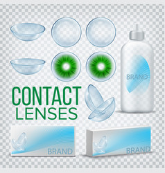 contact lenses branding design mockup vector image