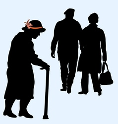 couples silhouettes running and an old woman vector image