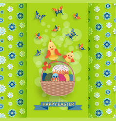 cute easter background in paper art style vector image