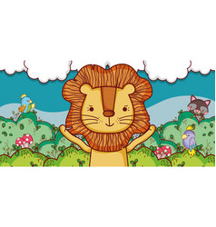 cute lion in the forest cartoon vector image
