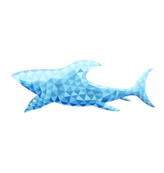 Design of shark in low poly style vector