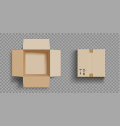 empty open and closed cardboard box vector image