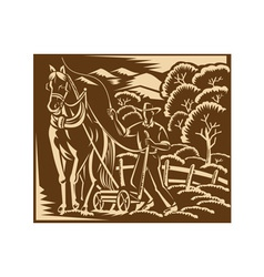 Farmer Farming Plowing With Farm Horse Retro vector image