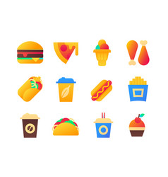 fast food - set flat design style icons vector image