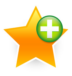Favorite icon with green cross add to favorites vector