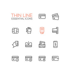finance - modern single thin line icons set vector image