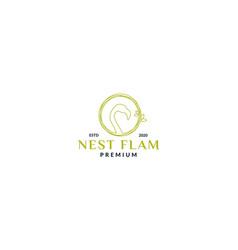 Flamingo bird with nest circle logo design line vector