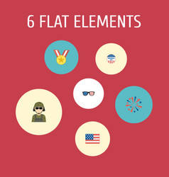 Flat icons military man firecracker american vector