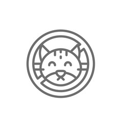 forbidden sign with cat no animal wool pets vector image