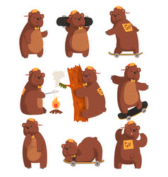 Funny teen bear in various situations cartoon vector