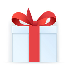 Gift box icon white box tied with a red ribbon vector