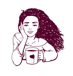 Girl with a glass of hot coffee vector