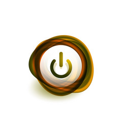 glass transparent effect power start button on vector image
