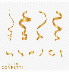 golden confetti ribbons isolated on a transparent vector image