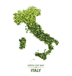 Green leaf map of italy of a forest vector