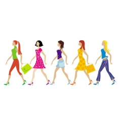 Group of young ladies vector
