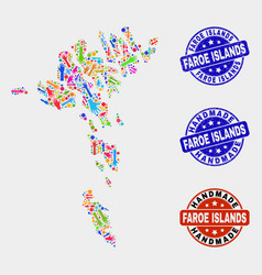 Hand collage faroe islands map and grunge vector