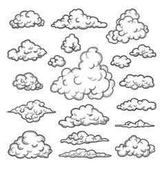 hand drawn clouds weather graphic symbols vector image