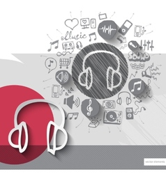 Hand drawn headphones icons with icons background vector image