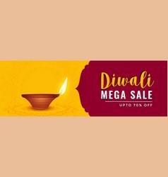 Happy diwali sale banner with realistic diya vector