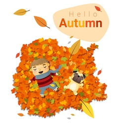 Hello autumn background with little boy 4 vector