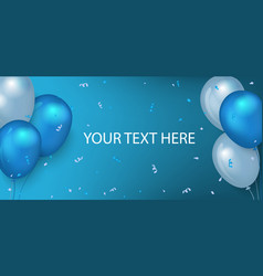 Horizontal holiday banner with 3d glossy balloons vector
