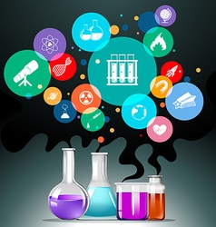 Infographic with science equipment vector image