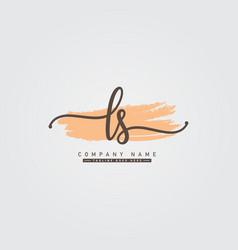 Initial letter ls logo - handwritten signature vector