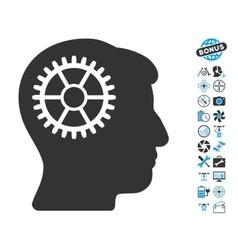Intellect Cog Icon With Air Drone Tools Bonus vector