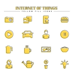 Internet of things and smart home yellow fill vector image vector image