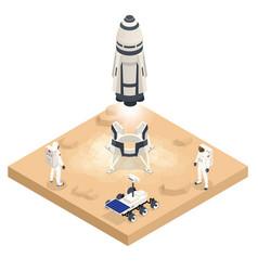Isometric rocket take-off or landing on mars mars vector