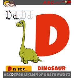 Letter d from alphabet with cartoon dinosaur vector