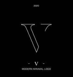 letter type v elegant identity design vector image