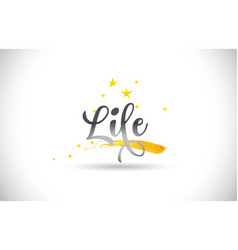 Life word text with golden stars trail and vector